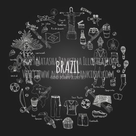Brazil. Hand Drawn Doodle Brazilian Icons Collection. Wreath shaped. Ring shape. With place for your text. Chalkboard style. - Natasha Pankina Illustrations
