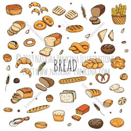 Bread. Hand Drawn Doodle Food Colorful Icons Set. - Natasha Pankina Illustrations