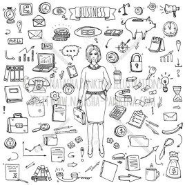 Business. Hand Drawn Doodle Finance and Communication Icons Set - Natasha Pankina Illustrations