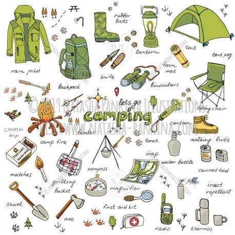 Camping. Hand Drawn Doodle Camping Equipment Colorful Icons Set - Natasha Pankina Illustrations