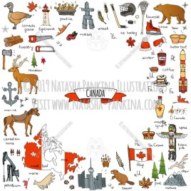 Canada. Hand Drawn Doodle Canadian Colorful Icons Collection. Contour shape. Outlined. With place for your text. - Natasha Pankina Illustrations