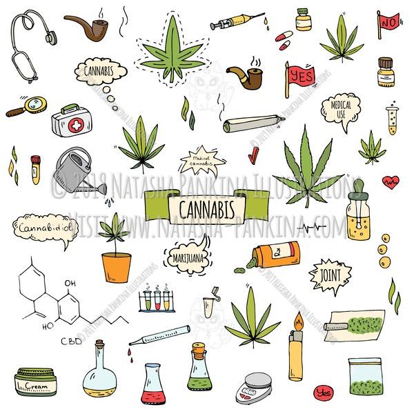 Cannabis. Hand Drawn Doodle CBD Oil Colorful Icons Set - Natasha Pankina Illustrations