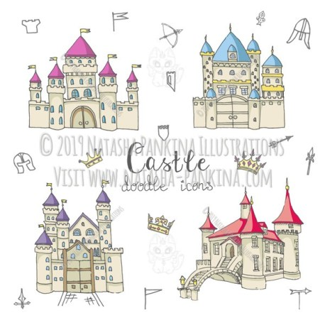 Castle. Hand Drawn Doodle Fairy Tale Icons Collection. - Natasha Pankina Illustrations