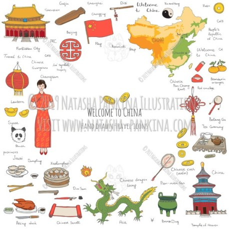 China. Hand Drawn Doodle Chinese Colorful Icons Collection. Contour shape. Outlined. With place for your text. - Natasha Pankina Illustrations