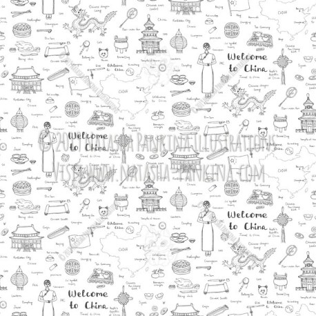 China. Hand Drawn Doodle Chinese Icons Collection. Seamless background. Unseamed pattern. - Natasha Pankina Illustrations