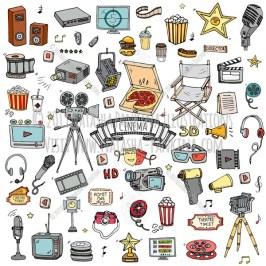 Cinema. Hand Drawn Doodle Movie Making Colorful Icons Set - Natasha Pankina Illustrations