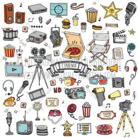 Cinema. Hand Drawn Doodle Movie Making Colorful Icons Set - Natasha Pankina Illustrations
