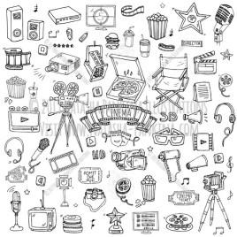 Cinema. Hand Drawn Doodle Movie Making Icons Set - Natasha Pankina Illustrations