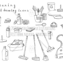 Cleaning. Hand Drawn Doodle Cleaning Equipment Icons Collection. - Natasha Pankina Illustrations