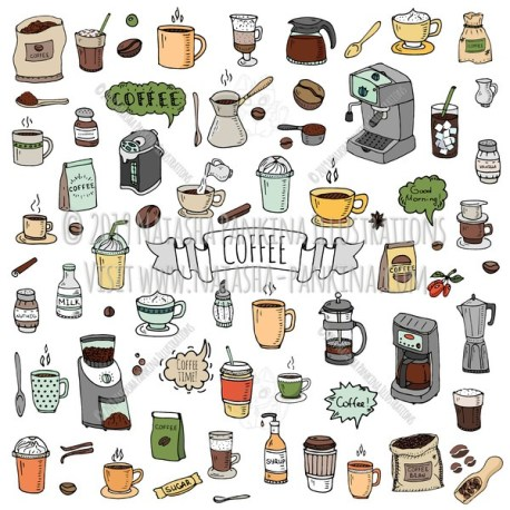 Coffee. Hand Drawn Doodle Coffee Time Colorful Icon Set. - Natasha Pankina Illustrations