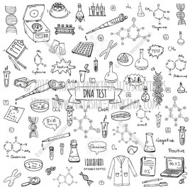 DNA test. Hand drawn doodle DNA test icons collection. - Natasha Pankina Illustrations
