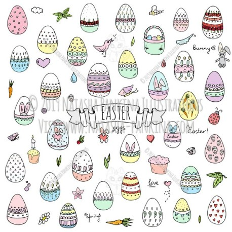 Easter. Hand Drawn Doodle Happy Easter Colorful Icons Collection. - Natasha Pankina Illustrations