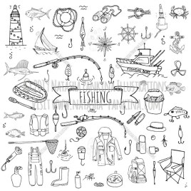 Fishing. Hand Drawn Doodle Catching Fish Equipment Icons Collection. - Natasha Pankina Illustrations