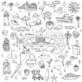 Florida. Hand Drawn Doodle USA state Icons Collection. - Natasha Pankina Illustrations