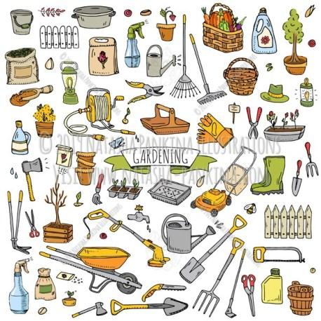 Gardening. Hand Drawn Doodle Garden Equipment Colorful Icons Collection. - Natasha Pankina Illustrations