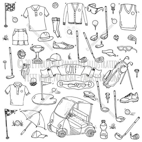 Golf. Hand Drawn Doodle Sport Icons Collection. - Natasha Pankina Illustrations