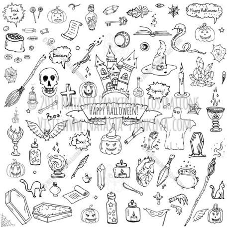 Halloween. Hand Drawn Doodle Autumn Holiday Icons Collection. - Natasha Pankina Illustrations