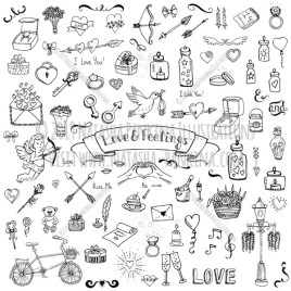 Happy Valentine's day. Hand Drawn Doodle Love and Feelings Icons Collection. - Natasha Pankina Illustrations