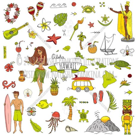 Hawaii. Hand Drawn Doodle USA State Colorful Icons Collection. - Natasha Pankina Illustrations
