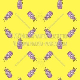 Hawaii. Hand Drawn Doodle USA State Colorful Icons Collection. Pineapples. Seamless background. Unseamed pattern. - Natasha Pankina Illustrations