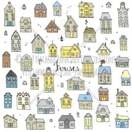 Houses. Hand Drawn Doodle Cottage Colorful Icons Collection. - Natasha Pankina Illustrations