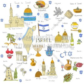 Israel. Hand Drawn Doodle Jewish Colorful Icons Collection. - Natasha Pankina Illustrations