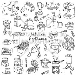 Kitchen appliance. Hand Drawn Doodle Household Equipment Icons Collection. - Natasha Pankina Illustrations