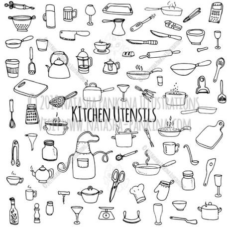 Kitchen utensils. Hand Drawn Doodle Kitchen Ware Icons Collection. - Natasha Pankina Illustrations