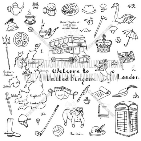 London. Hand Drawn Doodle English Icons Collection. - Natasha Pankina Illustrations