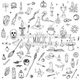 Magic. Hand Drawn Doodle Fairy Icons Collection. - Natasha Pankina Illustrations