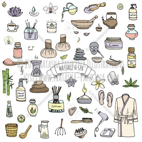 Massage and Spa. Hand Drawn Doodle Beauty Care Colorful Icons Collection. - Natasha Pankina Illustrations