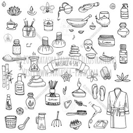 Massage and Spa. Hand Drawn Doodle Beauty Care Icons Collection. - Natasha Pankina Illustrations