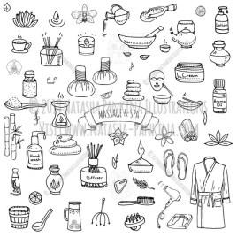 Massage and Spa. Hand Drawn Doodle Beauty Care Icons Collection. - Natasha Pankina Illustrations