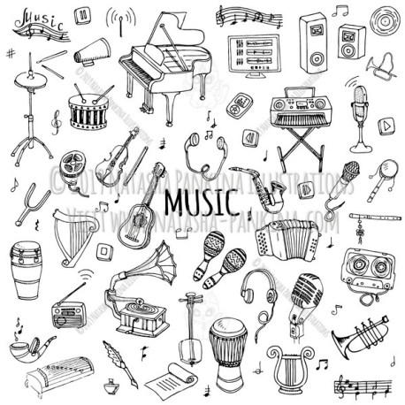 Music. Hand Drawn Doodle Musical Instrument Icons Collection. - Natasha Pankina Illustrations