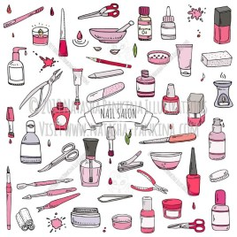 Nail salon. Hand Drawn Doodle Manicure Accessories Colorful Icons Collection. - Natasha Pankina Illustrations