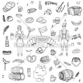 Oktoberfest. Hand Drawn Doodle Germany Holiday Icons Collection. - Natasha Pankina Illustrations