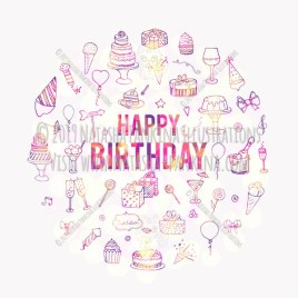 Party. Hand Drawn Doodle Happy Birthday Celebration Icons Collection. - Natasha Pankina Illustrations
