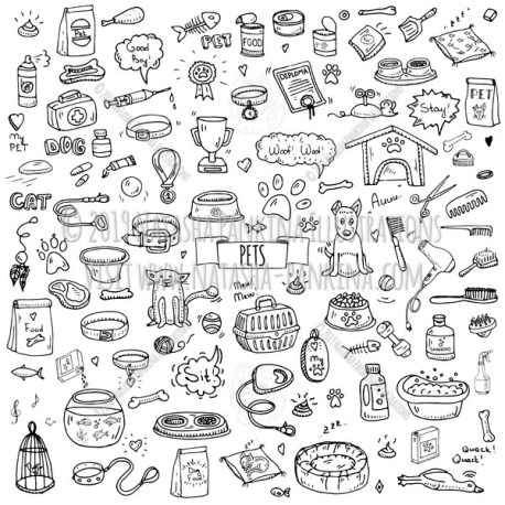 Pet. Hand Drawn Doodle Vet Icons Collection. - Natasha Pankina Illustrations