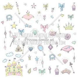 Princess. Hand Drawn Doodle Fairy Tale Icons Collection. - Natasha Pankina Illustrations