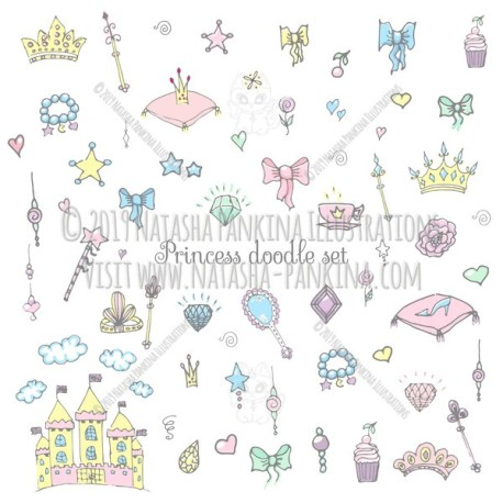 Princess. Hand Drawn Doodle Fairy Tale Icons Collection. - Natasha Pankina Illustrations