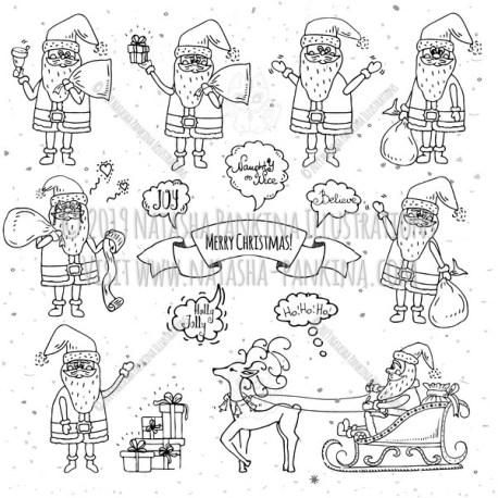 Santa Claus. Hand Drawn Doodle Merry Christmas and New Year Collection. - Natasha Pankina Illustrations