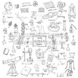 Science. Hand Drawn Doodle Back To School Icons Collection. - Natasha Pankina Illustrations