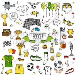 Soccer. Hand Drawn Doodle Football Icons Collection. - Natasha Pankina Illustrations