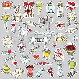 Stickers. Hand Drawn Doodle Fashion Patches Collection. - Natasha Pankina Illustrations