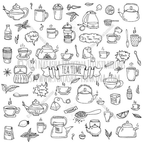 Tea time. Hand Drawn Doodle Hot Drink Icons Collection. - Natasha Pankina Illustrations
