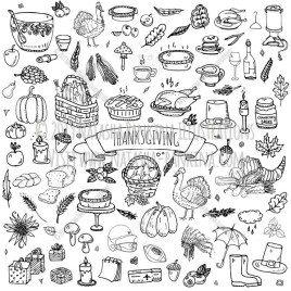 Thanksgiving. Hand Drawn Doodle Autumn Icons Collection. - Natasha Pankina Illustrations