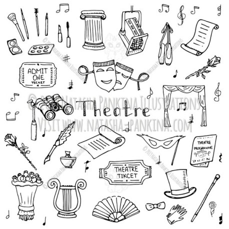 Theater. Hand Drawn Doodle Theatre Icons Collection. - Natasha Pankina Illustrations