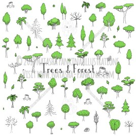 Trees. Hand Drawn Doodle Forest Colorful Icons Collection. - Natasha Pankina Illustrations