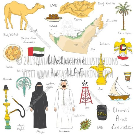 UAE. Hand Drawn Doodle Arabic Colorful Icons Collection. - Natasha Pankina Illustrations