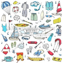 Watersports. Hand Drawn Doodle Water Sport Colorful Icons Collection. - Natasha Pankina Illustrations